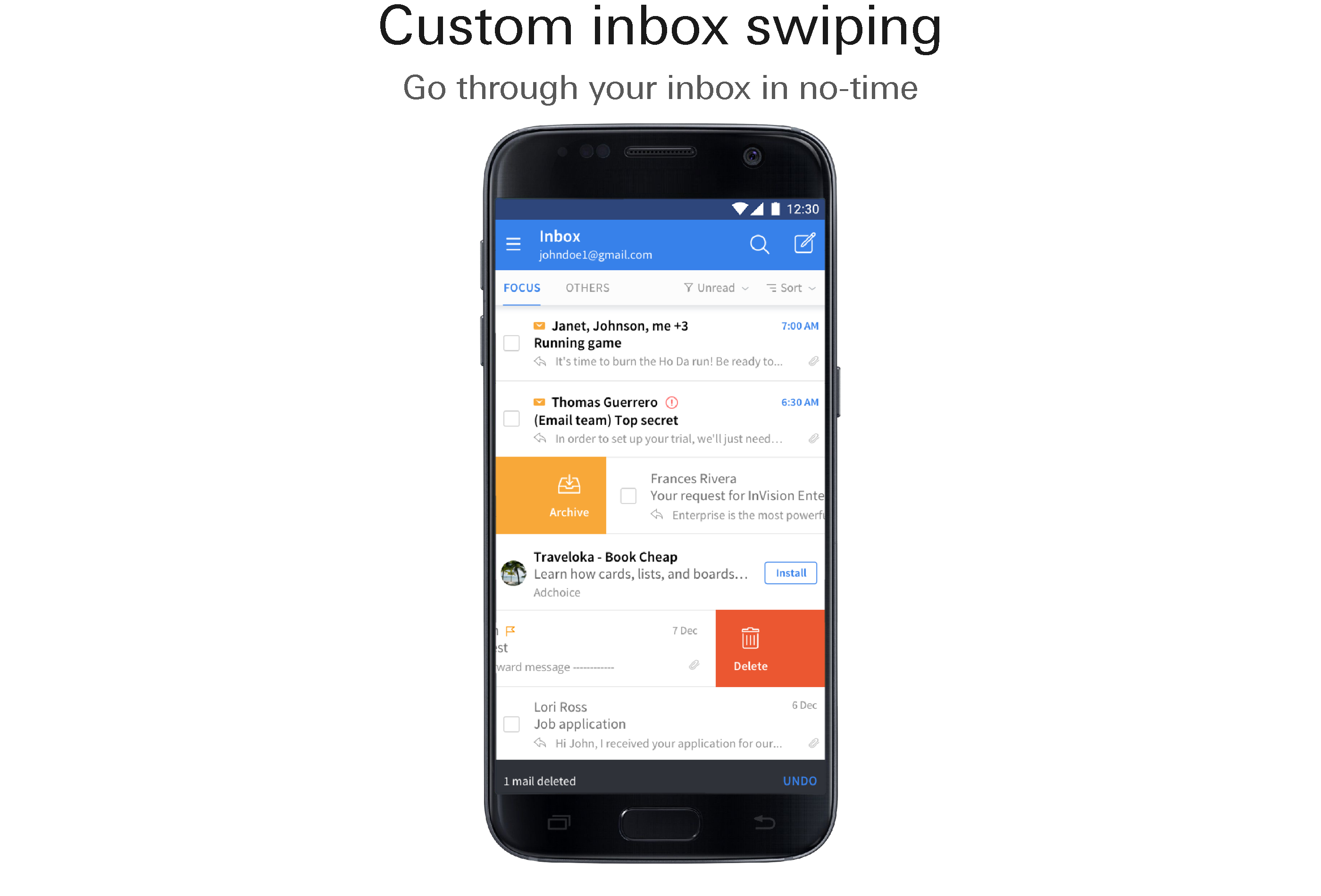 Custom inbox swiping